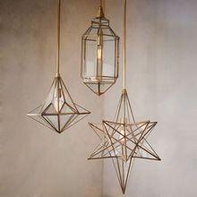 Brass Hanging Glass Lanterns