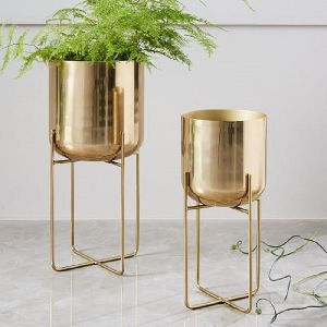 Brass Plated Floor Planter