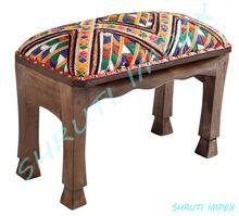 Wooden Upholstered Ottoman Stool