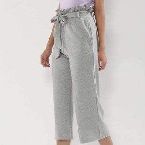 Paper Bag Waist Wide Leg Cropped Joggers