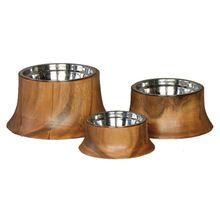 Bamboo Wood Dog Ceramic Pet Bowl