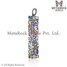 Diamond Silver Multi Stone Pendant
