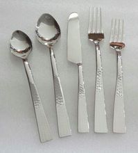 Aluminum Polished Hammered Cutlery Set