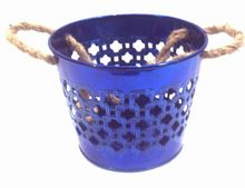 Blue Color Galvanized Metal Planter Pot