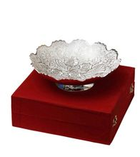 Silver Plated Embossed Brass Serving Bowl