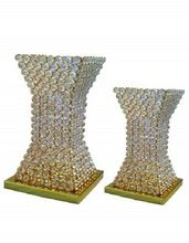 Tall Gold Crystal Beads Decorative Flower Vases