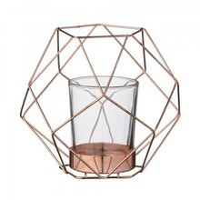 Copper Finish Hexagon Wire Candle Holder