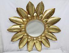 Decorative Gold Finish Petal Metal Mirror Frame