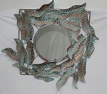 Leaf design wall Mirror With Bracket,