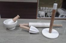 Marble With Wood Kitchen Accessories White Marble