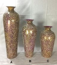 Metal Flower Vase With Mosaic Finished