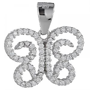 Silver Butterfly With Cz Pendant