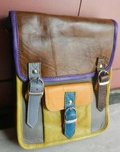 Multi color leather messenger bag