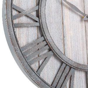 Oldtown Farmhouse Metal Wood Noiseless Wall Clock