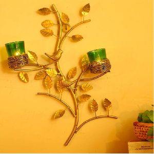 Golden Tree With Bird Nest Green Votive Stand