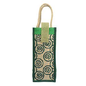 Handbag Jute Painted Water Bottle Bag