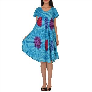 Rayon Printed Knee Length Loose Fit Stylish Evening Dress Tunic