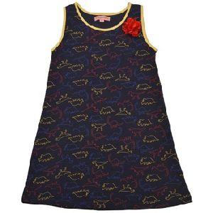 Sleeveless Navy Blue Krazy Dino Straight Knit Dress