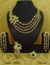 Dubai Gold plated american diamond necklace
