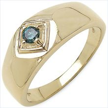 Genuine Blue Diamond Sterling Silver Gold Plated Ring