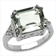 Green Amethyst And  White Topaz Sterling Silver Ring