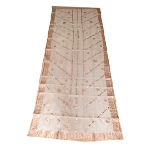 White Chanderi Printed Work Dupatta