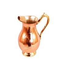 Copper Water Pitcher With Decorative Handle