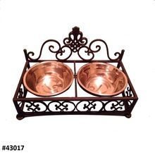 Metal Dog Bowl With Decorative Iron Stand