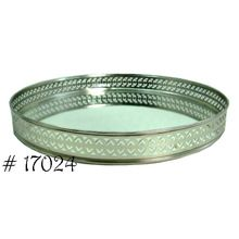 Silver Plated Round Mirror Tray