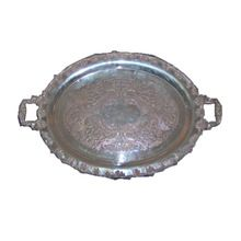 Solid Brass Silver Plated Serving Tray
