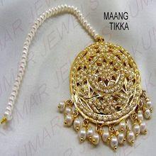 Big Round Pearl Beaded Jadau Tikka Hair Head Jewellery