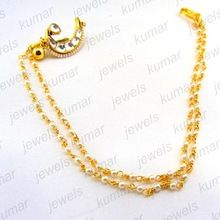 Gold Plated Kundan Pearl Stone Beaded Nose Ring