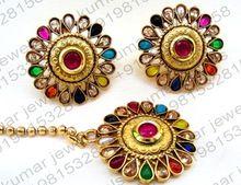 Stone Polki Beaded Round Gold Plated Ethnic Wear Tikka Earrings Set