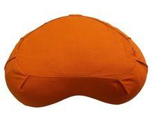 Saffron Color And Custom Embroidered Meditation Crescent Cushion