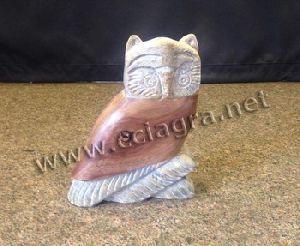 Natural Soapstone Wood Owl