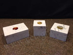 White Marble Inlay Agate Stone Jewelry Boxes