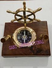 Brass Ship Wheel Compass Pen Holders