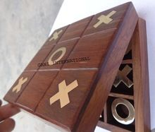 Wooden Brass Tic Tac Toe Travel Game Box