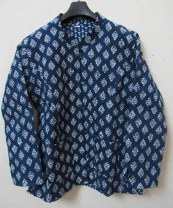 Hand Block Print Women Cotton Quilted Jacket Winter Warm Reversible Coat Blazer