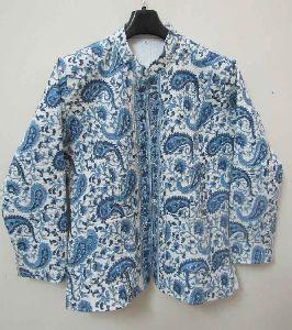 Handmade Block Print Cotton Kantha Stitched Reversible Womens Jacket