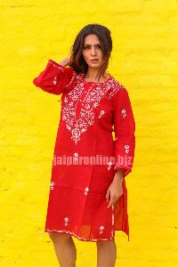 50 Pcs Womens Neck Solid Embroidered Kurta