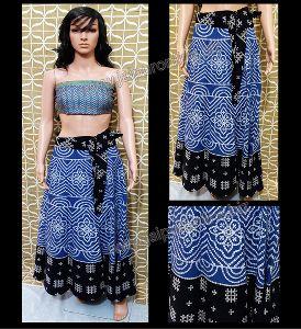 Bandhej Printed Designer Long Wrap Around Skirt