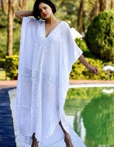 Exotic White Embroidered Kafta