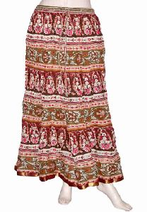 Full Length Hand Sanganeri Printed Skirts Lot