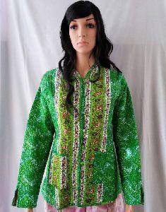 Green Winter Kantha Jacket