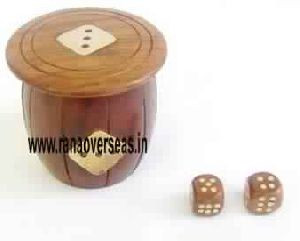 Wooden Dices Box With Dices