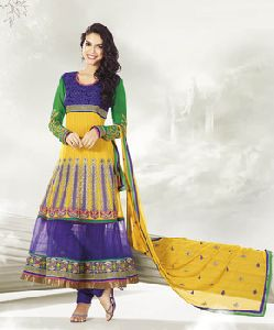 Exclusive Designer Anarkali In Yellow And Blue