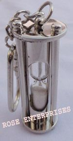 Brass Mini Maritime Sand Timer Key Chain