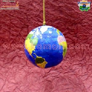 Earth Theme Paper Mache Ball Bauble Hand Painted Christmas Ornament