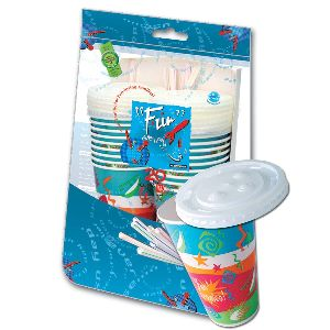 Paper Cup 12oz W/ Lid And Straw